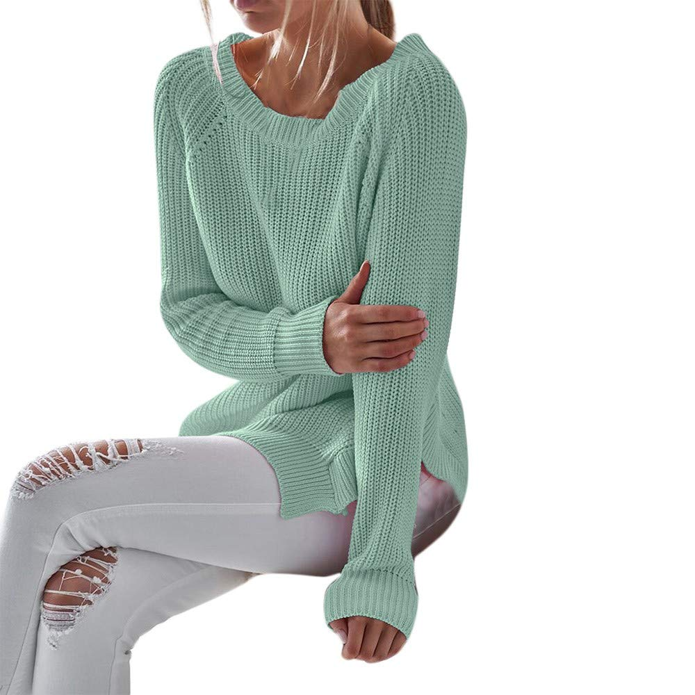 YANG-YI Sexy Women O-Neck Sweater Casual Vneck Knitted Loose Long Sleeve Pullover