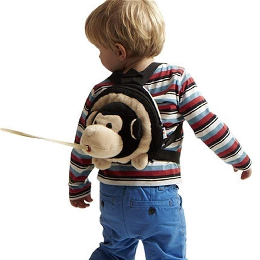 VIVIANE Children's Anti-Lost Backpack Baby Safety Belt Traction Rope Anti-Lost 遛 Children's School Bag Anti-Lost Rope Slip Baby Artifact (Color : Little Monkey)