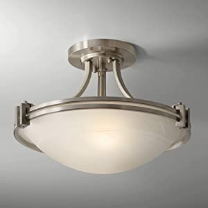 Deco Ceiling Light Semi Flush Mount Fixture Brushed Nickel