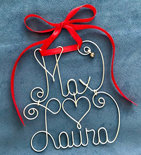 Personalized Couple's Christmas Ornament~Any Names~2 Names~THE ORIGINAL~Custom Made~Silver or Gold Wire~Red or Green Ribbon~Jingle Bell~Holliday, Xmas Gift (Personalized Bell Jingle)