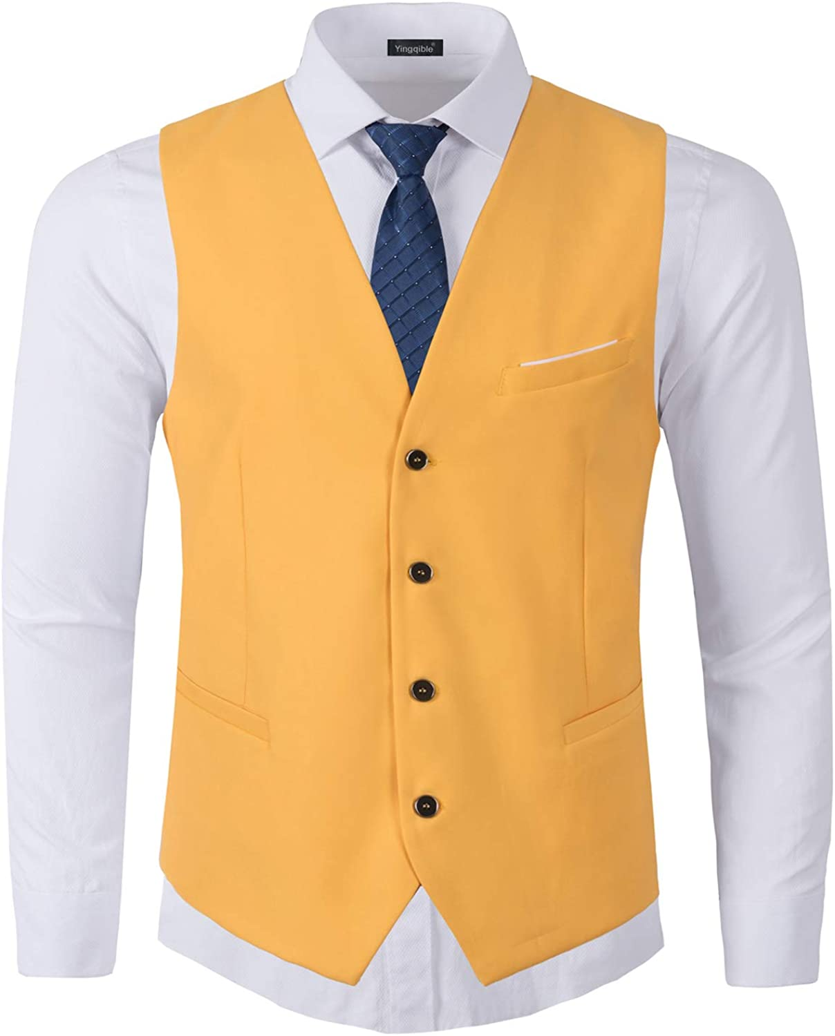 Yingqible Mens Suits Waistcoats Casual Slim Fit Skinny Wedding Dress Vest Sleeveless Tops Business Suit Gilet