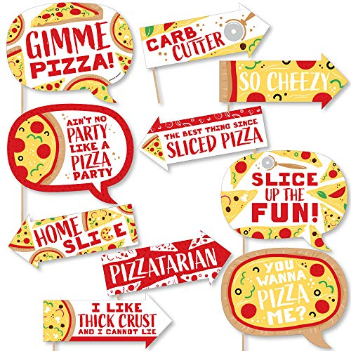 Funny Pizza Party Time - Baby Shower or Birthday Party Photo Booth Props Kit - 10 Piece]()