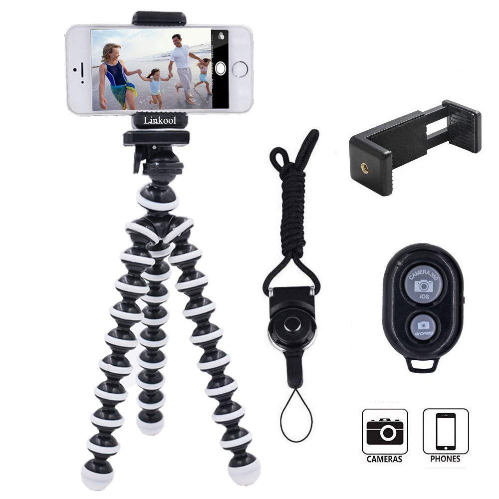 Phone Tripod, Linkcool Octopus Phone Tripod Portable and Adjustable Tripod Stand Holder with Universal Clip and Bluetooth Remote Compatible with Most Smartphones, GoPros, and Digital Cameras by Linkcool
