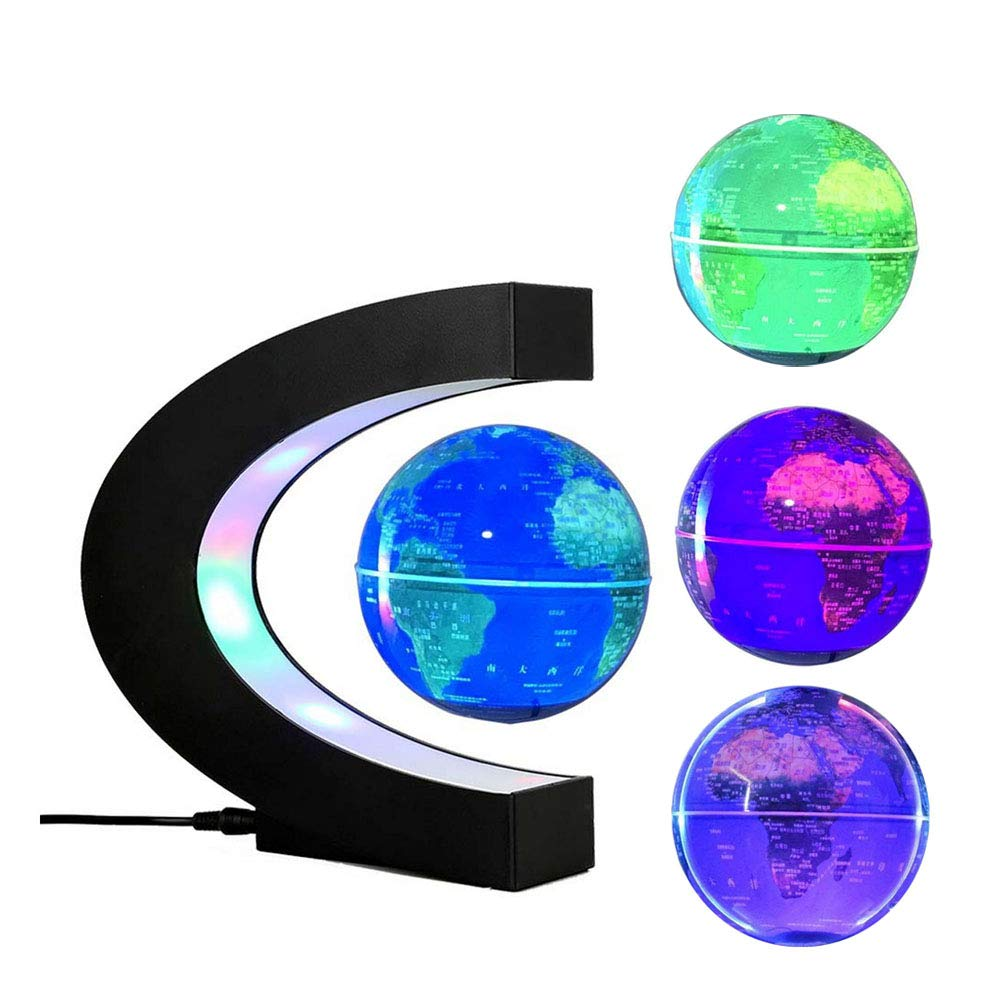 FUZADEL Multi-Color Changing Levitating Globe Magnetic Levitation Floating Globe World Map Educational Gifts for Kids / Teens Home / Office Desk Decoration Ornament by FUZADEL
