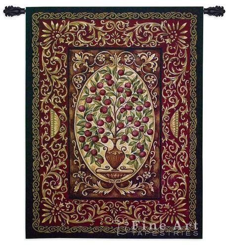 Abundance by Helen Vladykina - Woven Tapestry Wall Art Hanging for Home & Office Decor - Plant Ripe Red Fruit Decorative Urn Vase Intricate Botanical Ornate Bordered -100% Cotton-USA 53X40