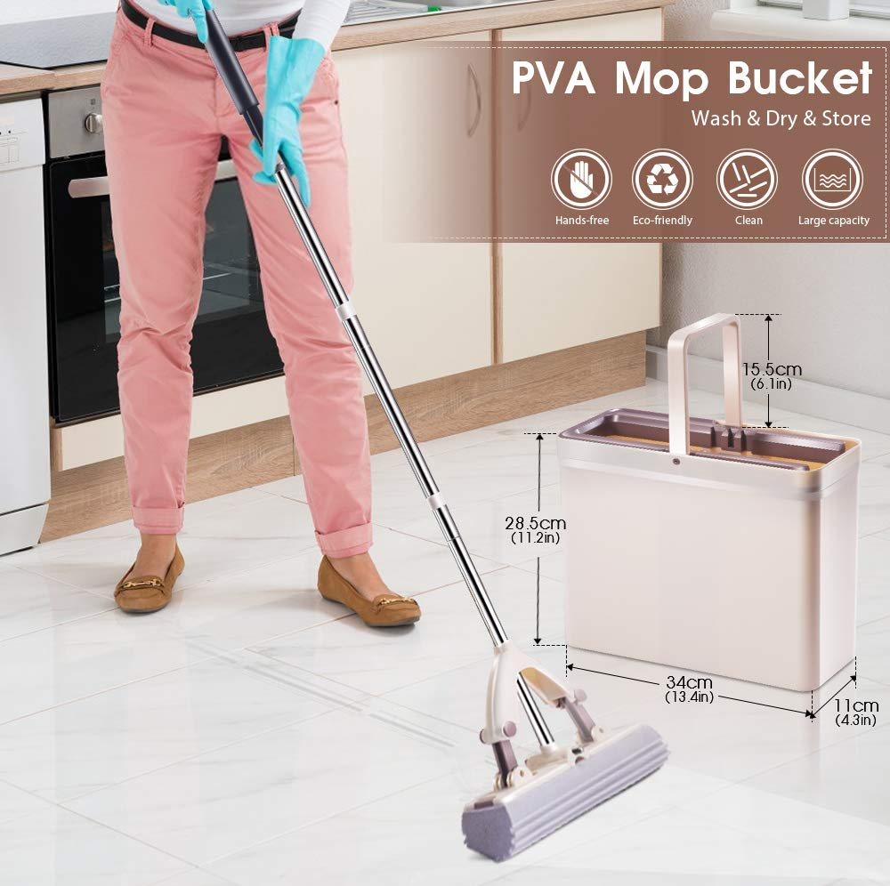 Sponge Mop and Bucket with 3 Pcs Super Absorbent PVA Sponge Head Self Cleaning Lazy Floor Mop Bucket with Washing Drying and storage by MASTERTOP (Image #7)