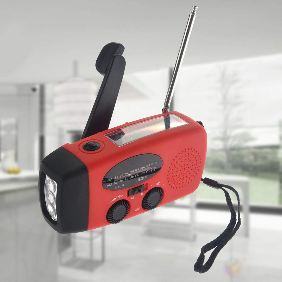 VOSAREA Emergency Solar Crank AM FM Camp Radio with LED Flashlight USB Output Port(Red) by VOSAREA (Image #4)