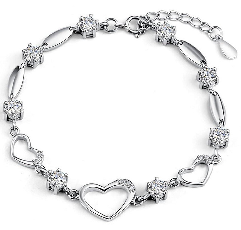 Amazon.com: Sterling Silver Bracelet Women Heart Hand Chain ...