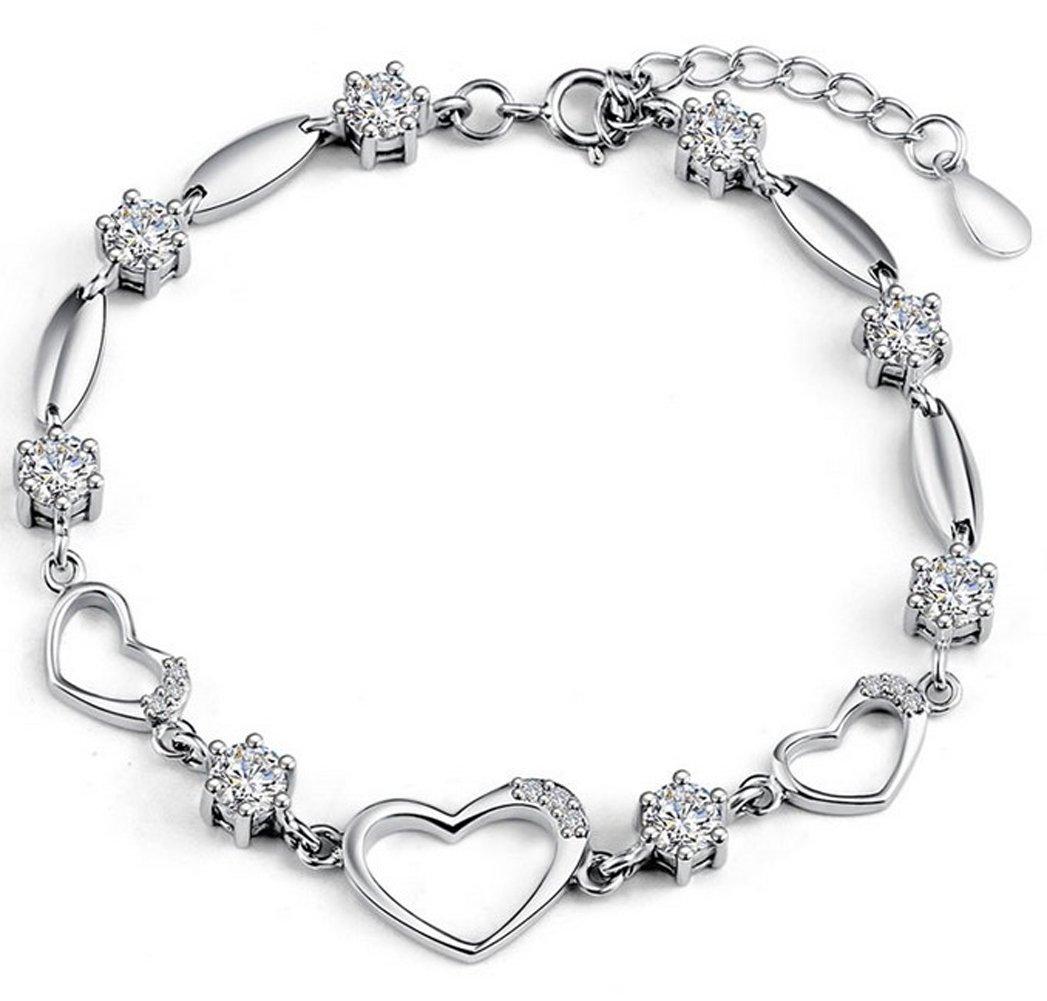 Sterling Silver Bracelet Women Heart Hand Chain Authentic Crystal Link Bracelets
