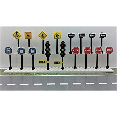 Building Toys City/Town/Village/Street Signs Set 15. Stop. Traffic Lights. Custom: Home & Kitchen