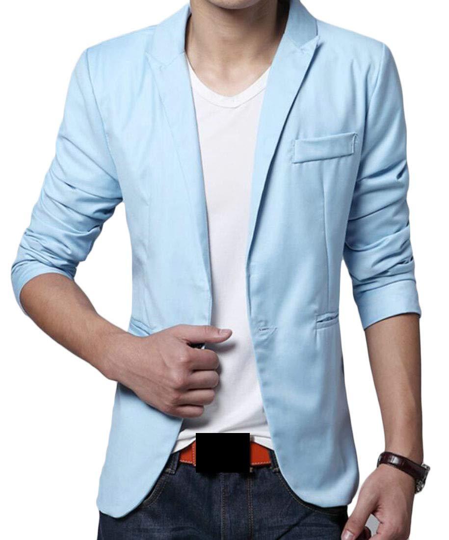 Domple Men's One Button Fashion Formal Business Lapel Blazer Suit Jackets Azure S