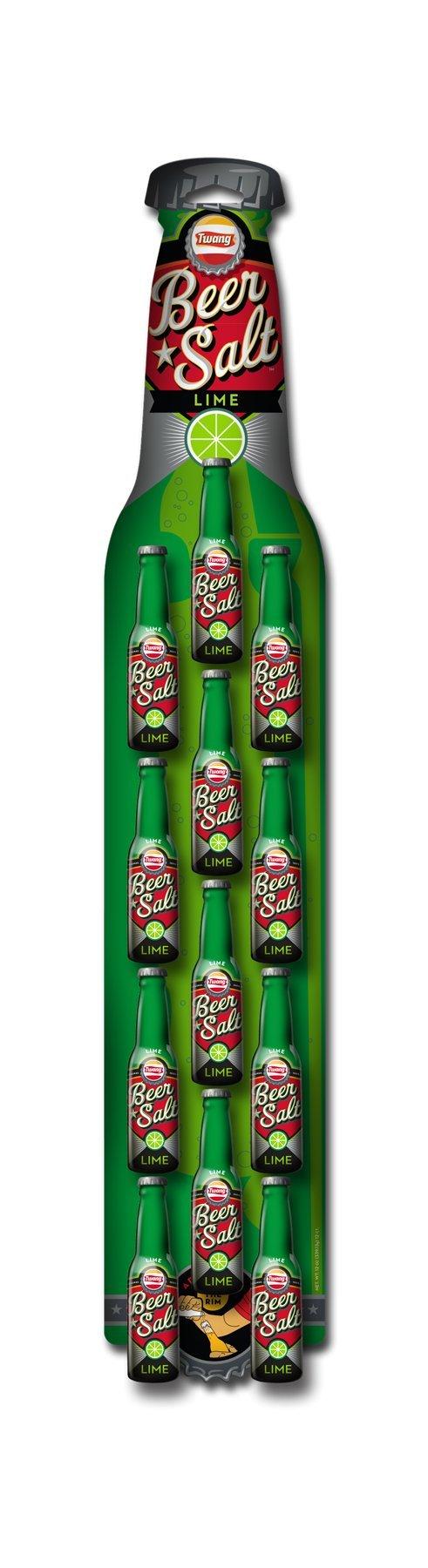 Twang Lime Flavored Salt, Beer Salt Clip Strip, Citrus Dressed Beer, 1.4 Ounce Mini Bottles, 12 Count