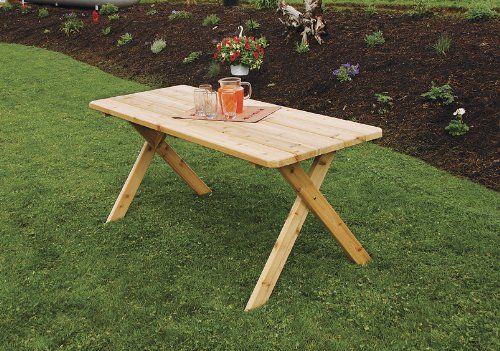 Outdoor 8 Foot Cross Leg Pine Picnic Table ONLY – Stained- Amish Made USA -Natural