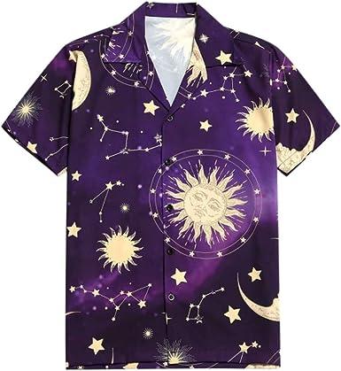 SoonerQuicker Camisa de Hombre Camiseta con Estampado de Sol de Luna de Manga Corta de Verano para Hombre de Star Moon Shirt T Shirt tee Blusa: Amazon.es: Ropa y accesorios