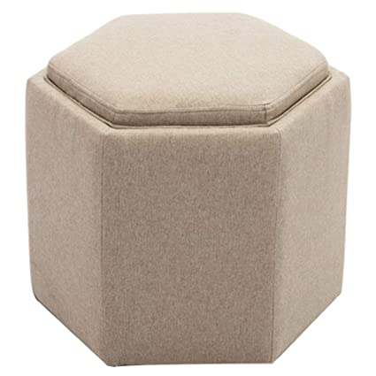 Groovy Chairus Fabric Hexagon Storage Tufted Ottoman With Tray Beige Gmtry Best Dining Table And Chair Ideas Images Gmtryco