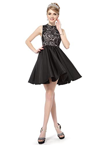 Ever Pretty Sleeveless High Collar Lacey Short Black Party Dress 05335