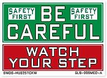 サイン&ラベルズ 安全第一;注意して下さい・足元をよく見て A Mサイズ