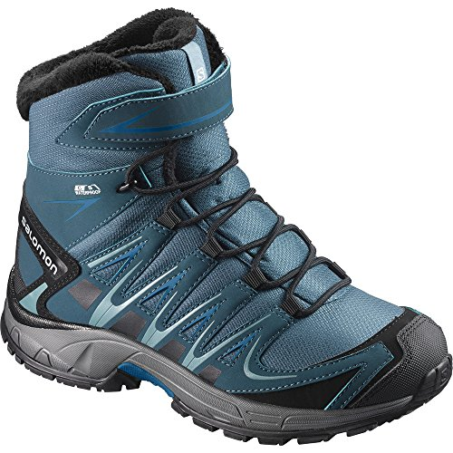 Salomon Kid's XA Pro 3D Winter TS CS Waterproof Snow Boots, Blue, Textile, Faux Fur, Rubber, 9 Toddler -
