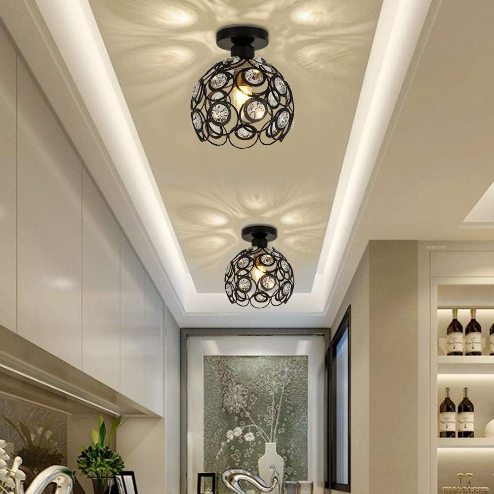 iDEGU Moderne Deckenleuchte Kronleuchter Lampenschirm aus Kristall und Metall LED Pendelleuchte Vintage Industrielle E27 Deckenlampe Innendekoration f/ür Schlafzimmer Flur Gold 20 cm