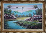 Framed Oil Painting 24''x36'' Hawaii Vacation with Palm Trees Village Naturalism Stylish Frame