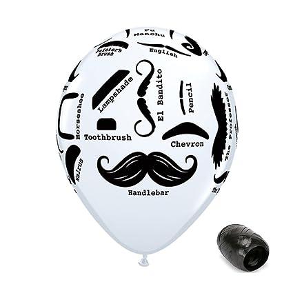 amazon com 10 pack 11 black white mustache styles latex balloons