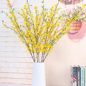 Sunm boutique Artificial Orchids Flowers, 3 Pcs Silk Fake Orchids Flowers in Bulk Orquideas Flowers Artificial for Indoor Outdoor Wedding Home Office Decoration Festive Furnishing Yellow 5