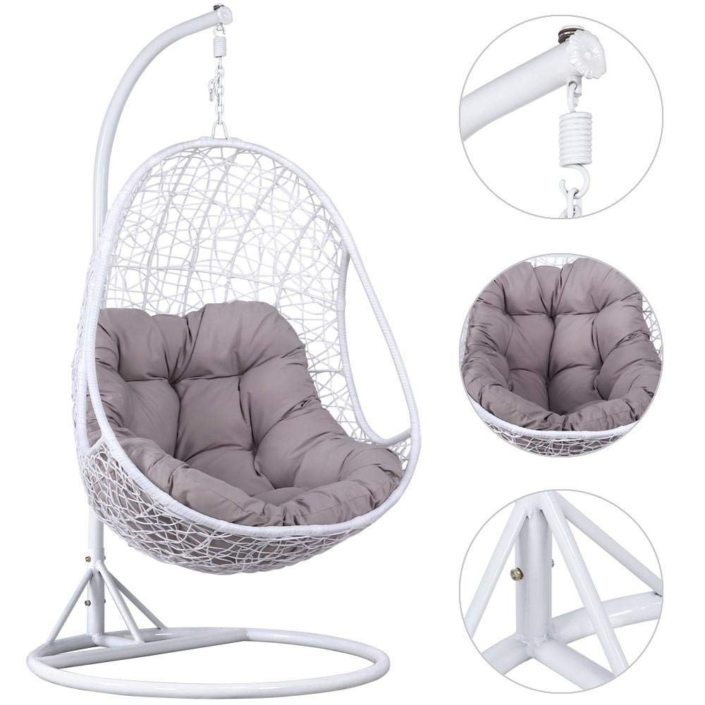 Popamazing Hanging Rattan Swing Chair With Soft Cushion armrest design Outdoor&Indoor Garden Patio Furniture Sand White