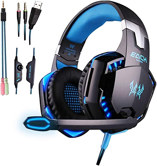 H- EarphoneLl-Platform Gaming Headset para PC, Playstation 4, Xbox ...