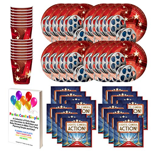 Hollywood Theme Movie Party Supply Pack Plates Cups Napkins Tableware Kit for 16 Guests by Parties Can Be Simple