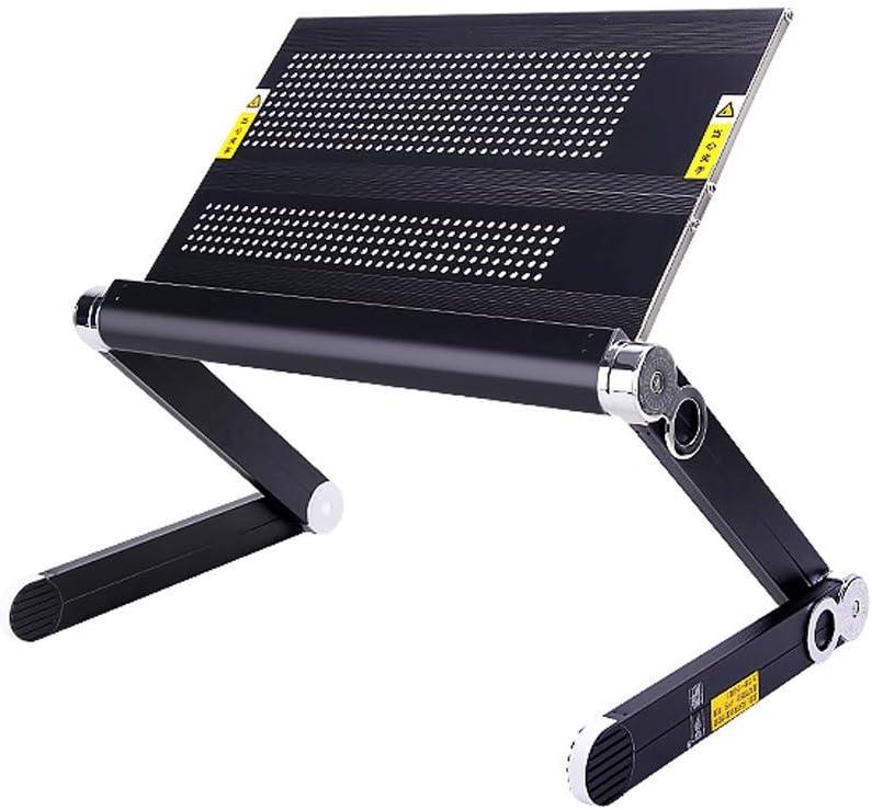 JIAJIA ノートパソコンスタンド デスクトップベッド 折りたたみ 持ち上げ 加熱 オフィス ホーム ブラケット アルミ合金 滑り止め 360度調整 コンピュータブラケット 39x24cm ブラック