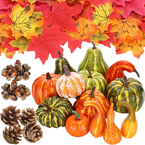Frienda 145 Pieces Thanksgiving Artificial Autumn Gourds, Pumpkins, Maple Leaves, Acorns, Pine Cones Assorted Fall Harvest Decoration for Thanksgiving Party Decor