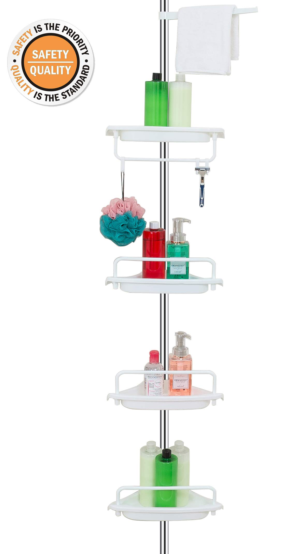 ALLZONE Constant Tension Corner Shower Caddy, Stainless Steel Pole, Rustproof, Strong and Sturdy, White,4.5-9FT