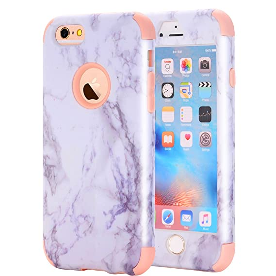 33967ff55a iPhone 6/6S Case, Asstar 3 In 1 Marble Creative Design Soft Silicone Hard