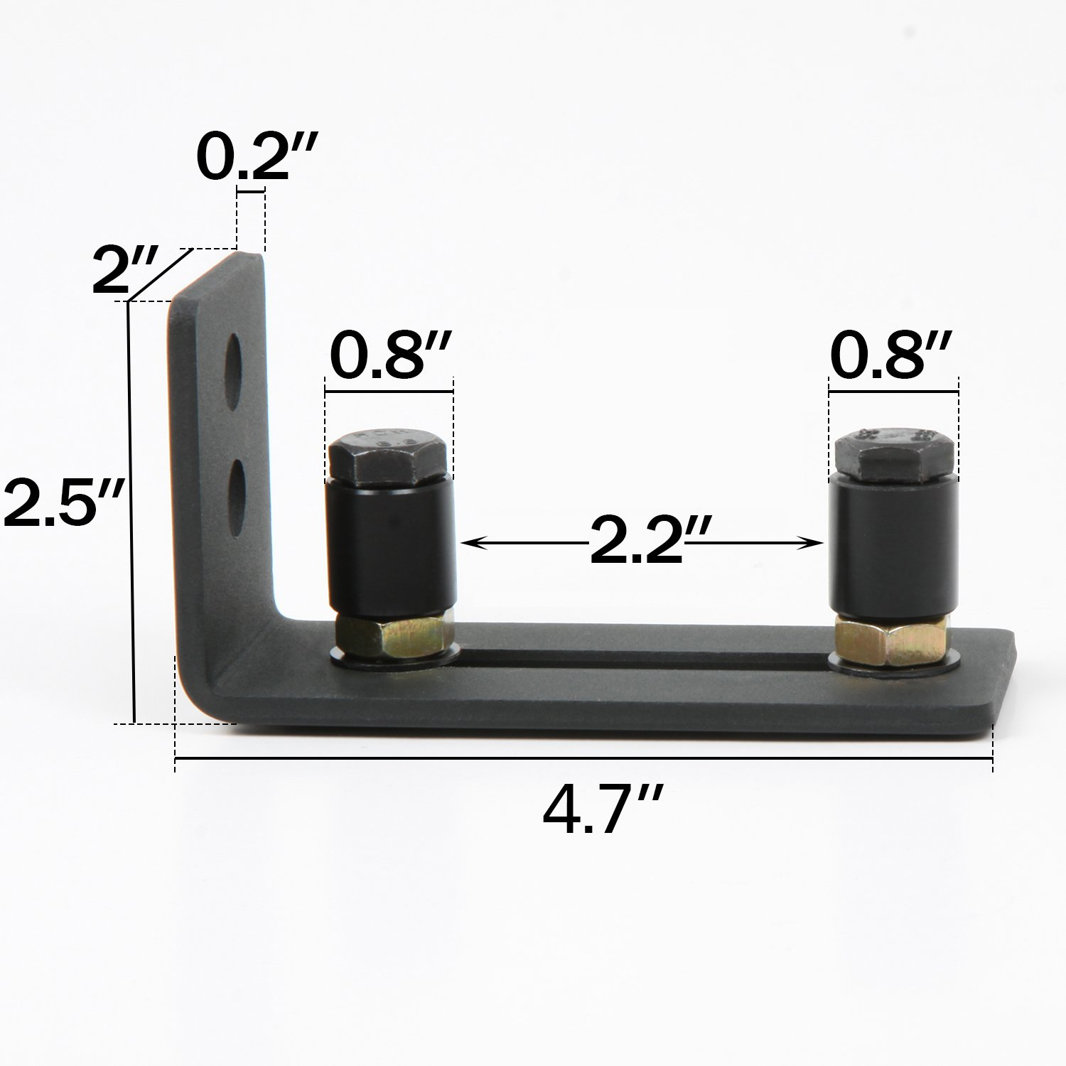 Stay Roller Guide Sliding Barn Door Bottom Guide Adjustable Floor Guide Wall Mounted Hardware with Black Power Coat-Flush to Floor (2 Pack) by NIUBEE (Image #2)