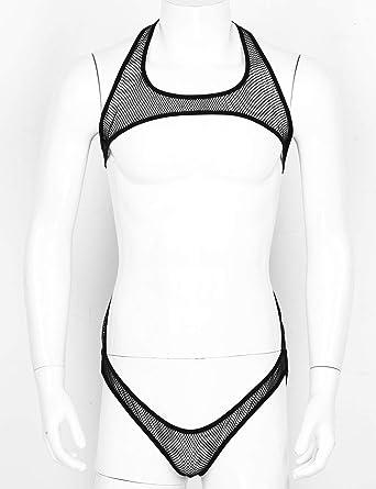 TSSOE Mens Sheer Lace Jockstrap Underwear One Piece Wrestling Singlet Suspender Bodysuit