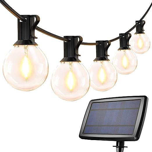 Guirnaldas Luces Exterior Solar con USB Micro, LE Guirnaldas Luminosas 25 G40 Bombillas, Base E12, 4 Modos Luz, IP65 Impermeable, Luces Decorativas Ideal para Jardín, Terraza, Patio, Exterior, Navidad: Amazon.es: Jardín
