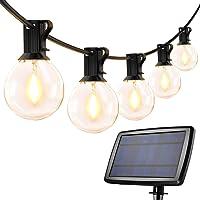Guirnaldas Luces Exterior Solar con USB Micro, LE Guirnaldas Luminosas 25 G40 Bombillas, Base E12, 4 Modos Luz, IP65…