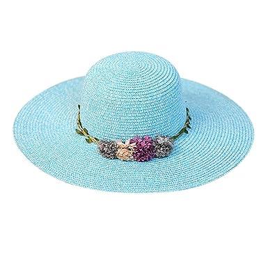 5698b6cd1e3a7 Sombrero de Paja de Playa Sombrero para el Sol Sombrero de Paja Verano  Gorra Sombrero Algodón Anti UV Solar para Viaje Playa para Mujer Flor  Colorida ...