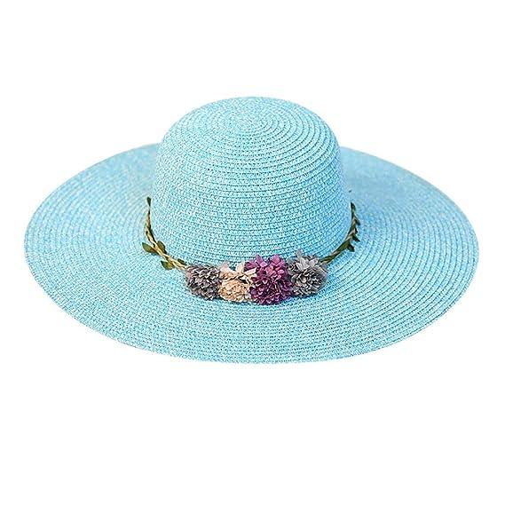 Sombrero de Paja de Playa Sombrero para el Sol Sombrero de Paja Verano  Gorra Sombrero Algodón Anti UV Solar para Viaje Playa para Mujer Flor  Colorida ... 3a106f6b8b0