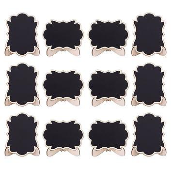 20pcs Mini Pizarras, Pizarras madera con Soporte Tablero Número de Mesa Tabla Señales de Tablero Signos de Mensajes para Boda (Style 2)