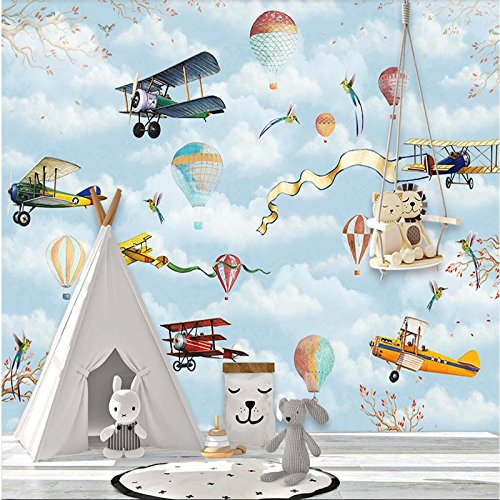 BZDHWWH Wallpaper Custom Mural Wallpaper Hand-Painted Children'S Bedroom Cartoon Hot Air Balloon Background Wall,160Cm (H) X 240Cm (W)
