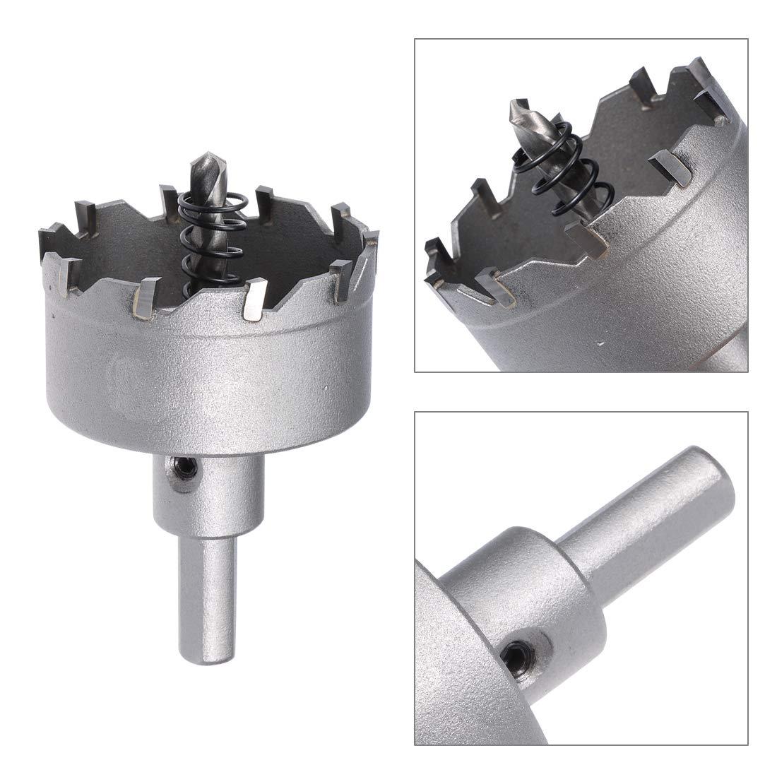 sourcing map taladro metal de Taladro de Sierra Cortadora de Agujeros de Carburo de acero inoxidable 42mm
