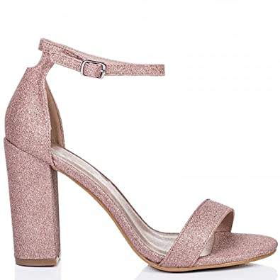 Blush Closet Ankle Pink Strappy Shoes 8 High Sandals Toes Peep Glitter Shoe 3 Heels Strap lKFcJT1