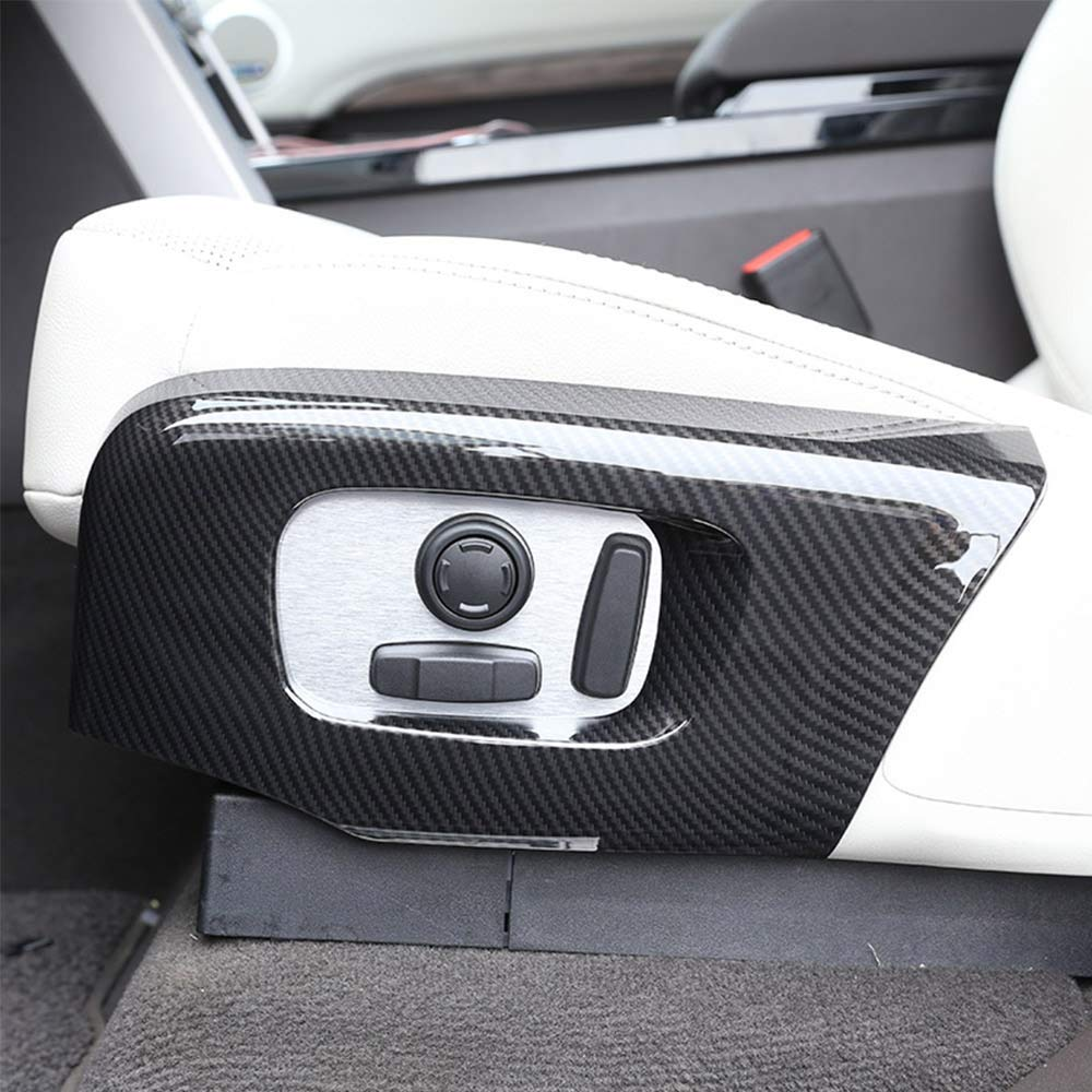 ABS Plastic Car Seat Side Cover Frame Trim Cover for Landrover Range Rover RR Velar Sport 2018 for Discovery 5 L462 LR5 2017-2018 Carbon Fiber Autobro