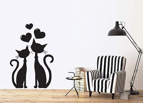 Etiqueta de la pared removible Gato Pareja enamorada Corazón ...