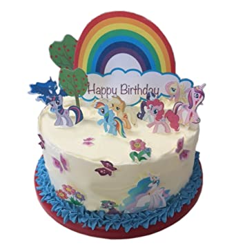 My Little Pony Happy Birthday Scene Edible Wafer Paper Cake Toppers
