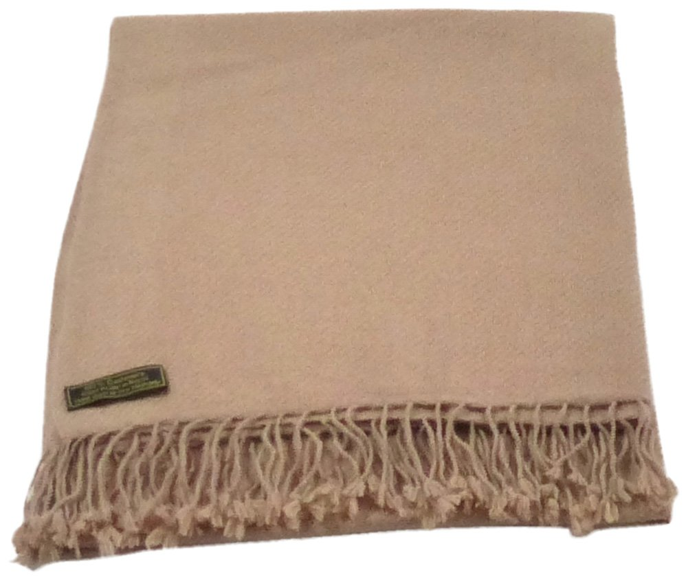 Beige Beige High Grade 100% Cashmere Shawl Scarf Wrap Hand Made in Nepal NEW
