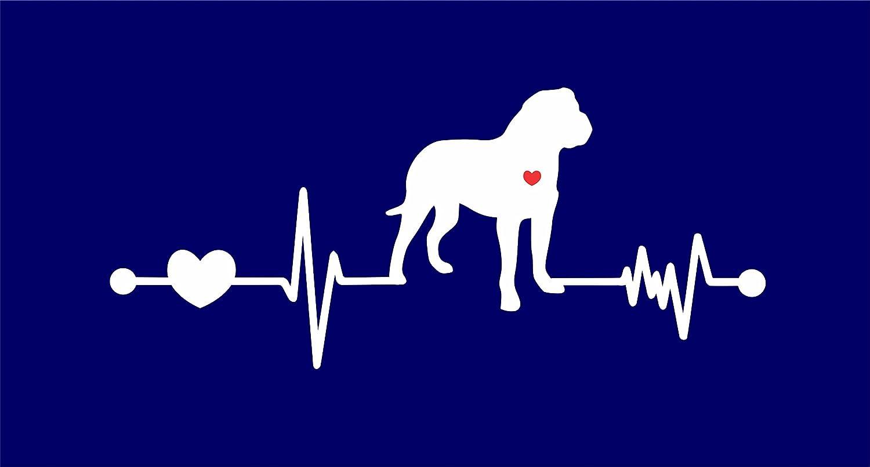 Bull Mastiff – Bullmastiff Lifeline withレッドハートビニールデカール車トラックウィンドウガラス壁ノートパソコン 8 Inches ホワイト DD-BULLMASTIFLIFELINE-1 8 Inches ホワイト B07693TH7S