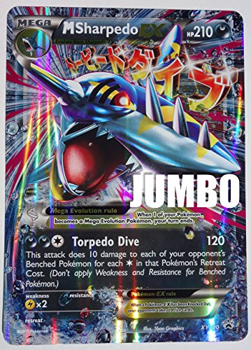 Pokemon, Mega M Sharpedo XY200, JUMBO ,Mint, New Ultra rare Jumbo Mint