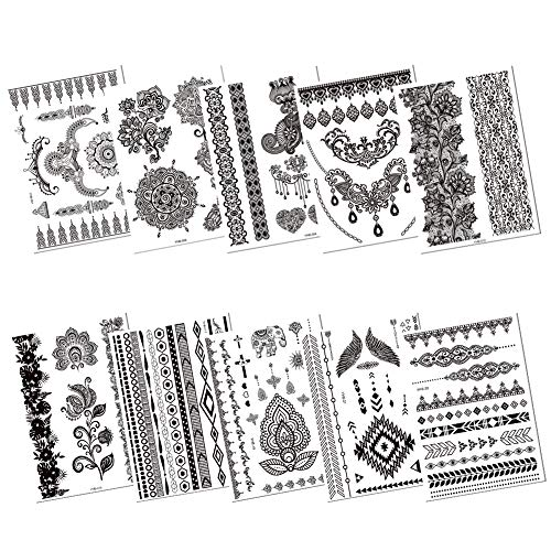 fe0517312 Pack of 10 Sheets Hannah Tattoo Stickers for Women,Finger Eyes Arm Wrist  Black Lace
